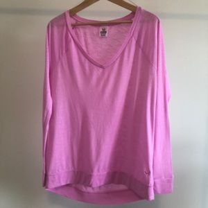 Pink Long Sleeve V-neck